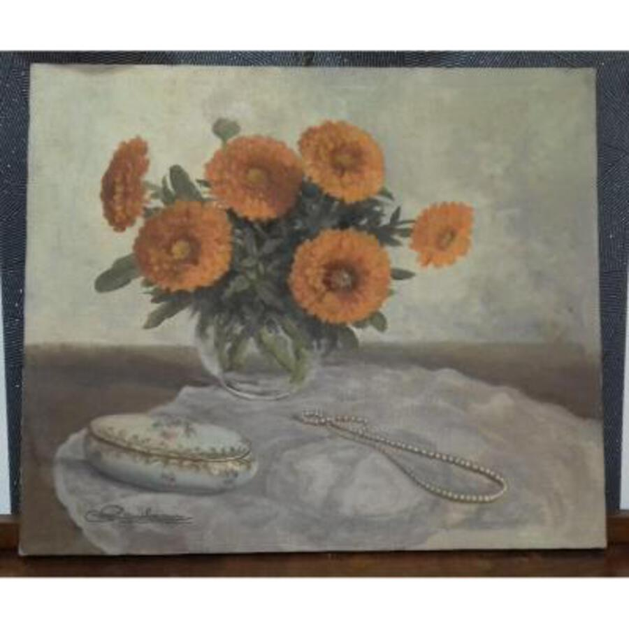 Antique Table Oil On Canvas Bouquet Of Marigolds With A Pearl Necklace Sign Rambeau xx th