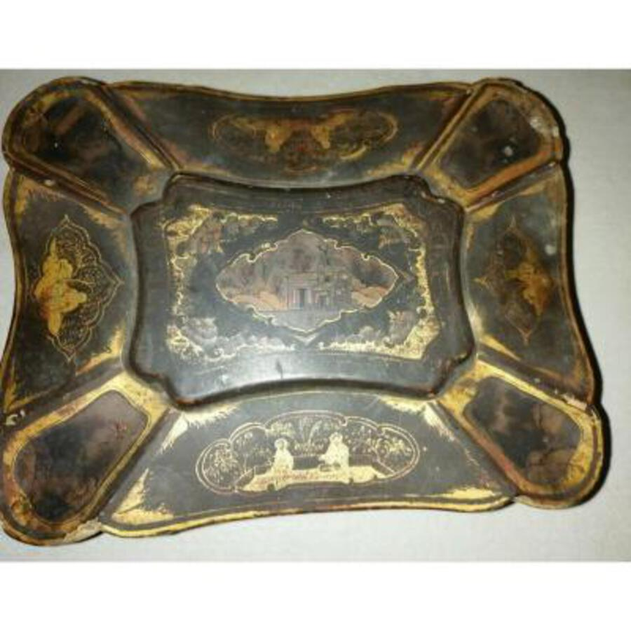 Antique China Wooden box Period XIX th century painting Lacquer Painted Table China Circa XIX Eme Napoleon III Chinese Claw feet