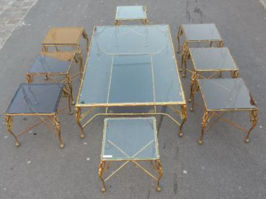 1950/70' Bronze Coffee Table With Swan and its 6 Pieces of Sofas 145 x 94 cm