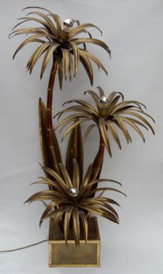 "1970 ""Palm Tree Floor Lamp in Brass  Maison Jansen 3 Heads Brutaliste Style"