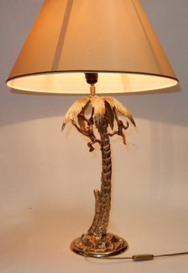 1980 'Gilt Bronze Lamp With Monkeys In A Palm Tree