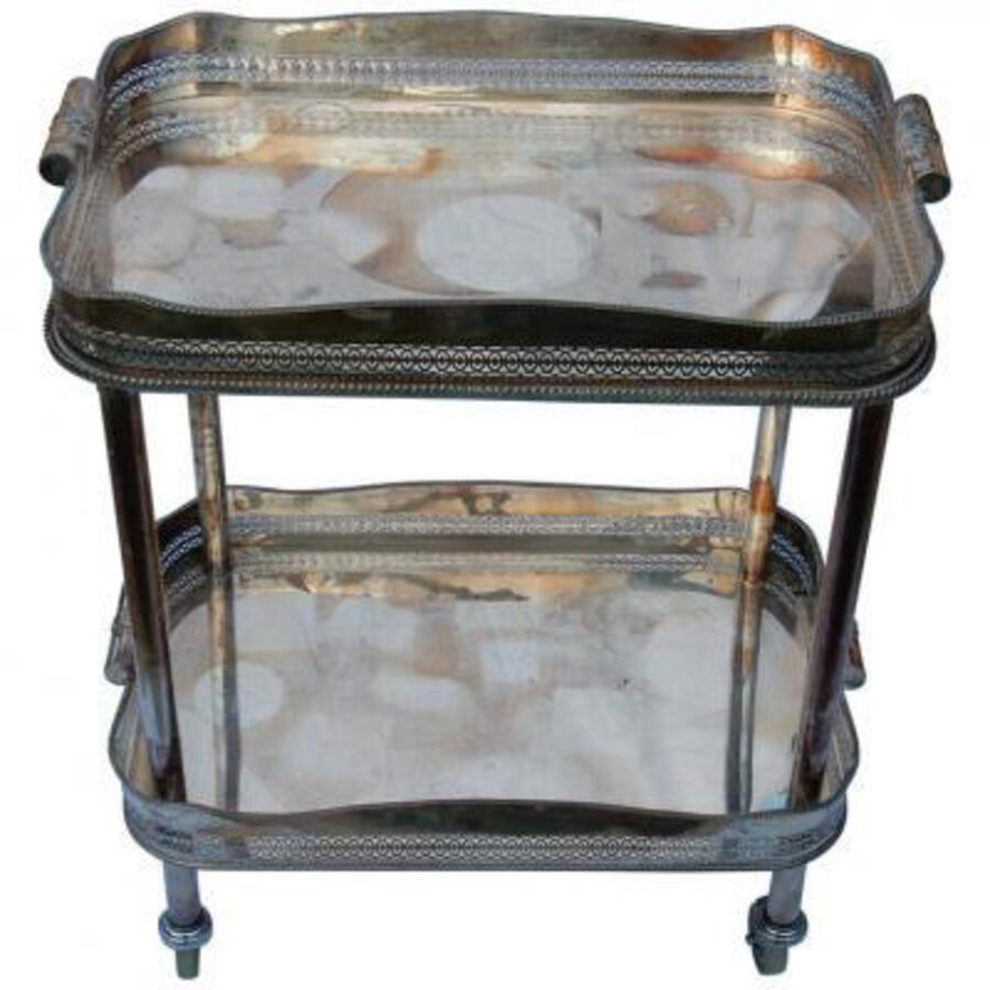 1950/70 British Rolling Bar Silvered Metal and Openwork Galleries