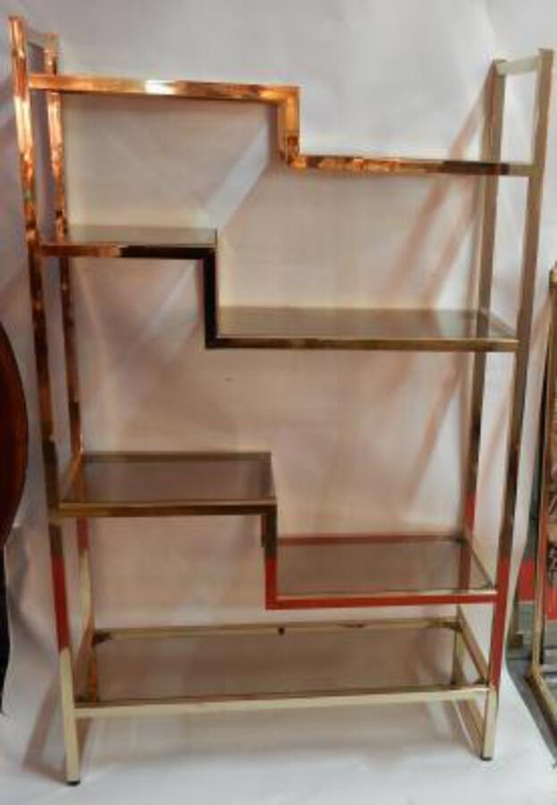 1970' Shelf In Golden Metal  Pierre Vandel Style Paris