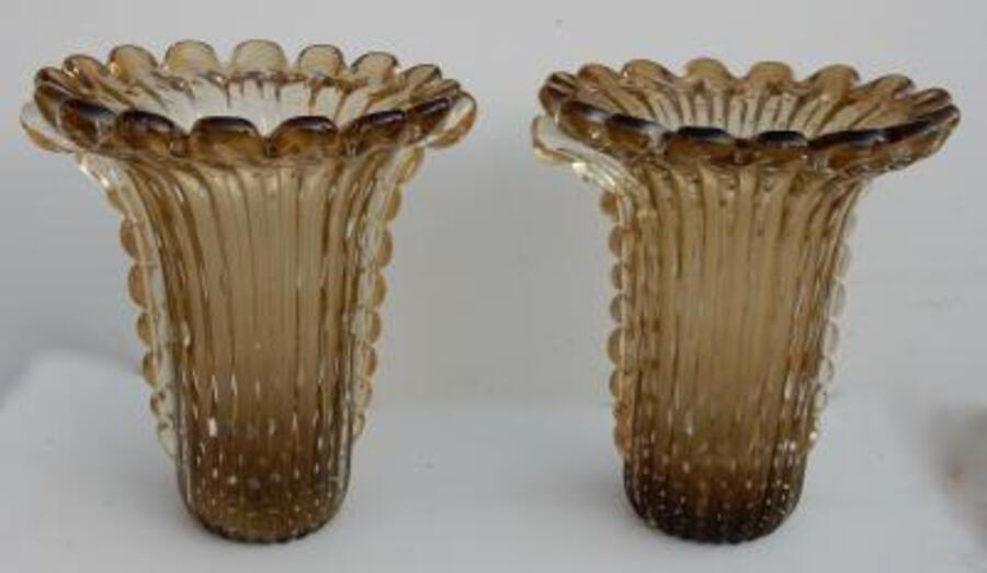1970' Pair Of Cristal Murano Urns And Gold sign Toso
