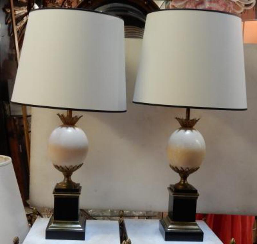 1950/70 Pair Of Lamps Black Marble and Ostrich Egg Maison Jansen