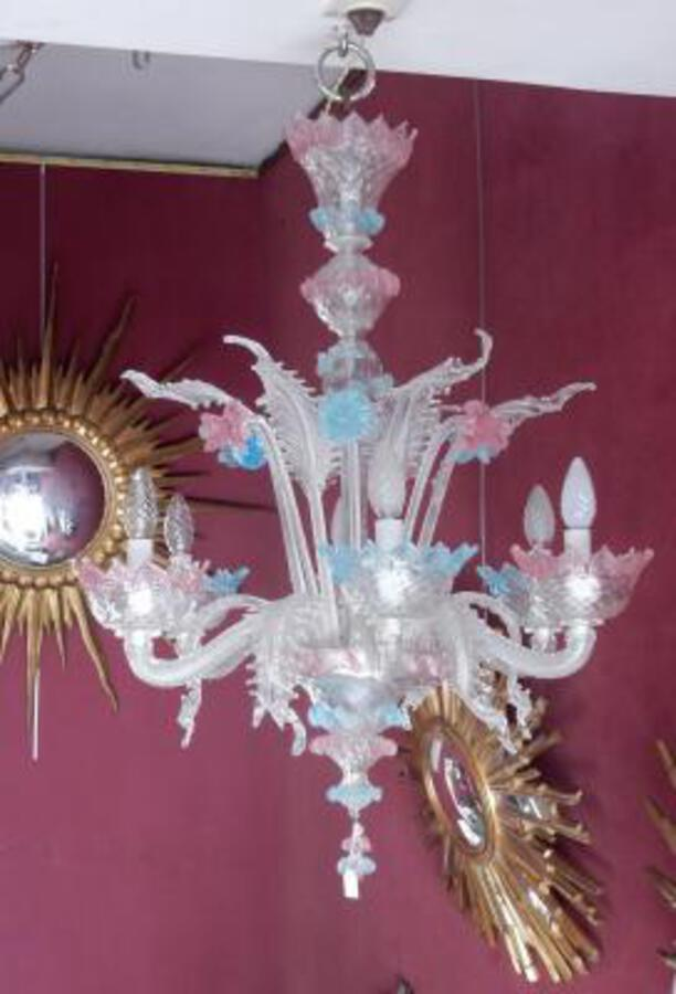 1970'  Chandelier Murano Blue And Pink Colour 6 lights