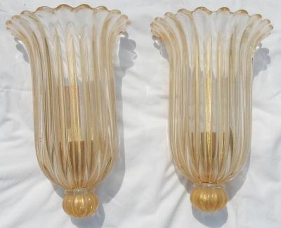 1970' Murano Sconces Pair By Archiméde Seguso