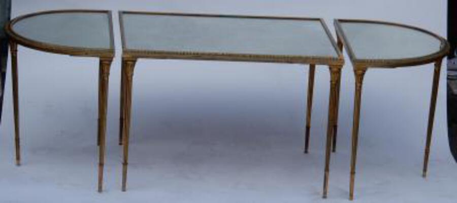 1970's Maison Charles Golden Brass Tripartite Table With Oxyded Mirror Trays