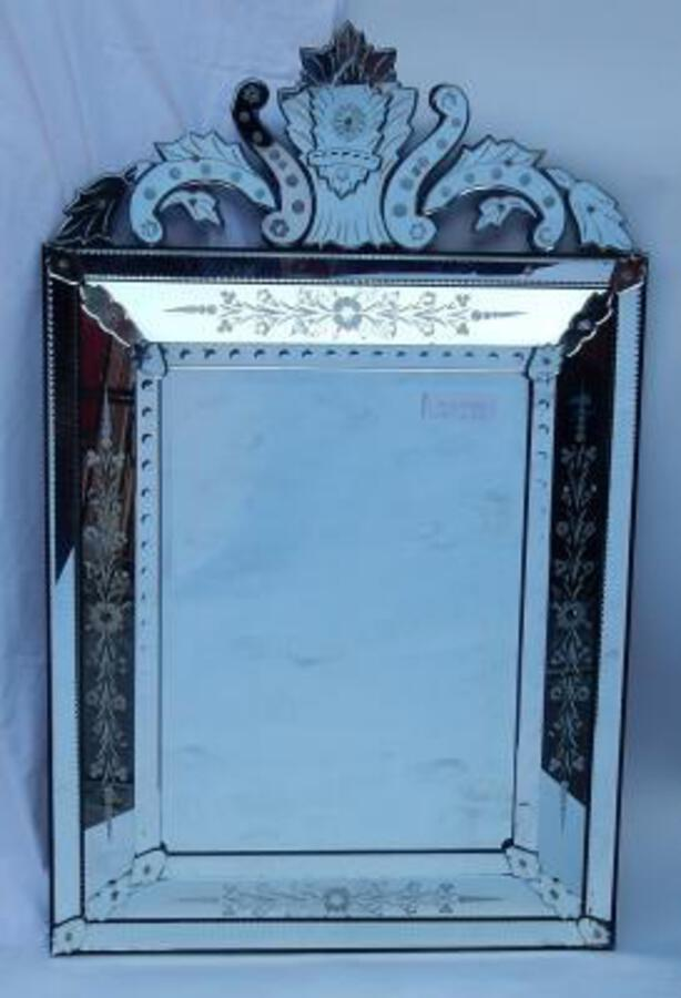 1950's Venetian Mirror With a Floral Decor and with Bubbles