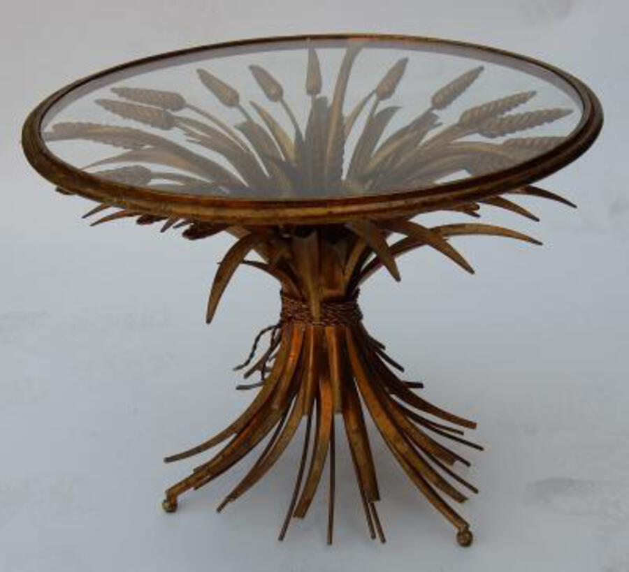 1970's Wheat Sheaf Table With Belt and Glass Tray in the of Style Coco Chanel
