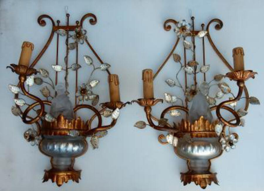 1970' Pair Wall Lamp Deco Chinese in the Style of  Maison Bagués