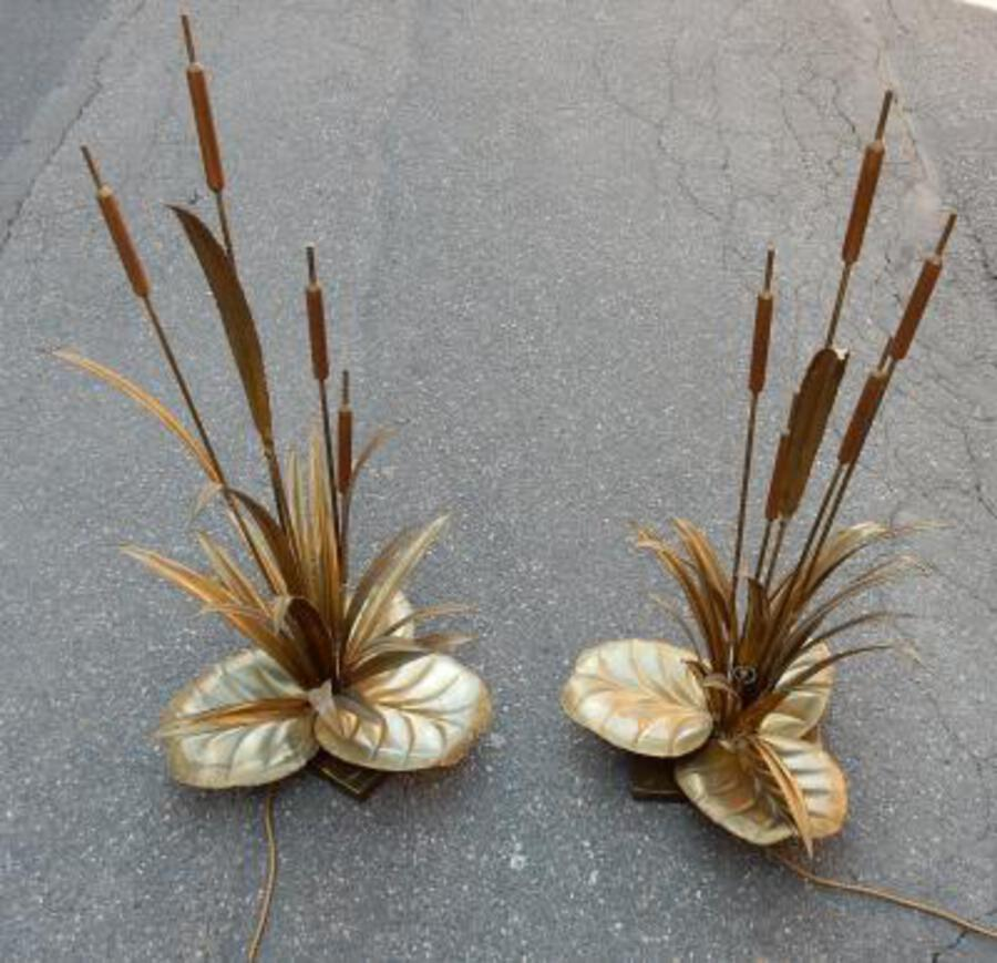 1970 'Pair Of Lamps Reeds  Style Maison Jansen in Brass