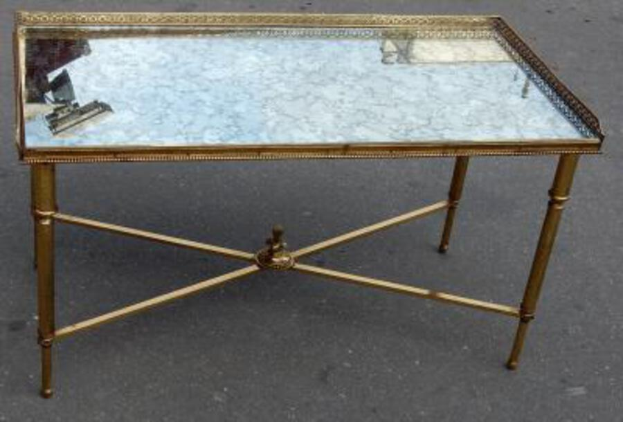 1970 'Bronze Coffee Table Maison Bagués With Spacer With Oxidized Mirror Tray 90 X 45 cm