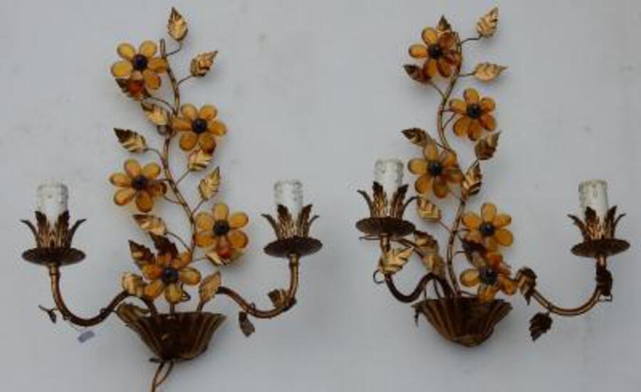 1970' Pair Of Wall Lamp  in the Style of Maison Bagués With Orange Color Flowers