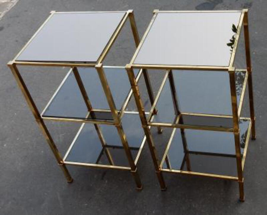 1970 'Pair of Shelves Guy Lefevre Brass With Smoked Windows and Mirrors