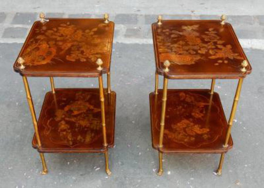 1950/70'  Pair of End of Sofa in the Style of Maison Bagués Lacquer of China 45 X34 cm