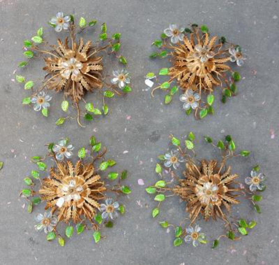 1970' 2 Ceiling Light or Wall Lamp with Flowers and Leaves in the Style of Maison Bagués With Green Color Leaves