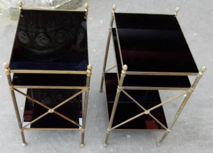 1950/70' Pair of Shelves has 3 levels Maison Bagués With Black Opaline