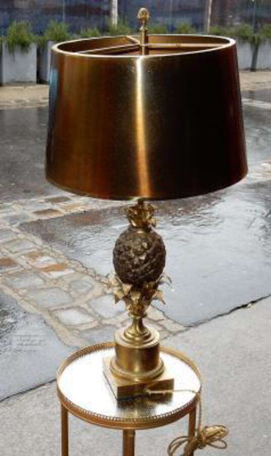 1950/70 Pin Apple  Bronze Lamp Signed  Charles & Fils
