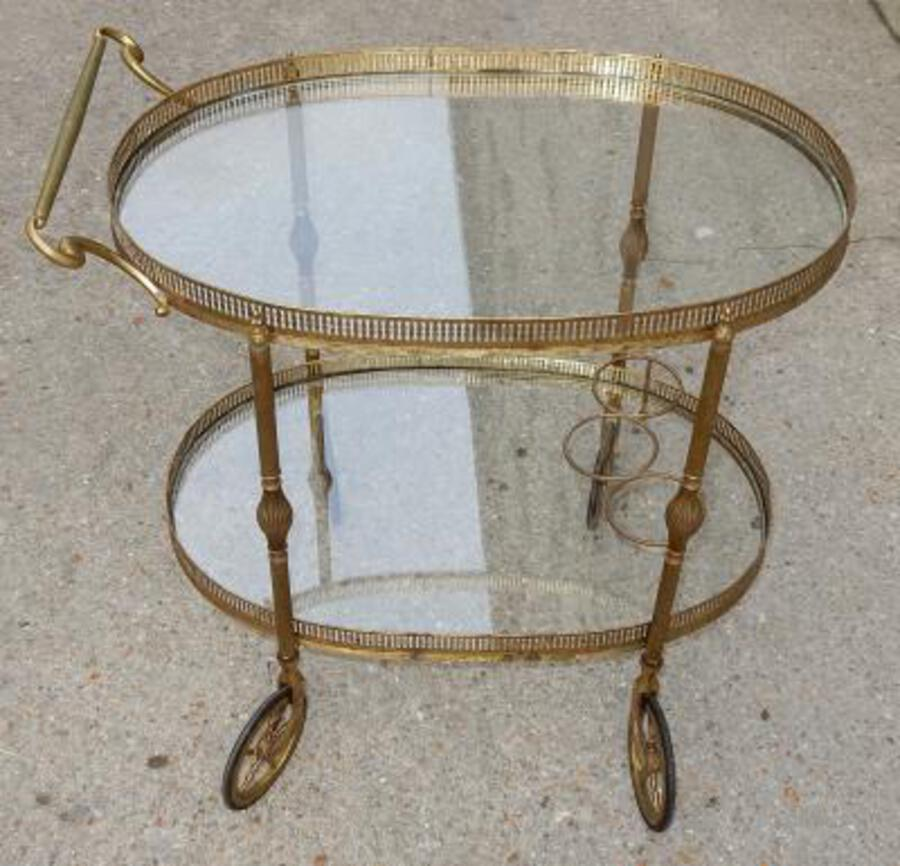 1950/70 Rolling Bar Brass Maison Bagués  in The Style of Art Nouveau