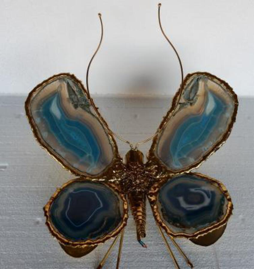 1970' Wall Lamp Butterfly by Fernandes or Duval Brasseur with Wings Blue Agates 38 X H 53 cm