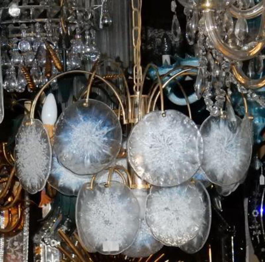 1970' Chandelier Vistosi 15 crystals opalescent