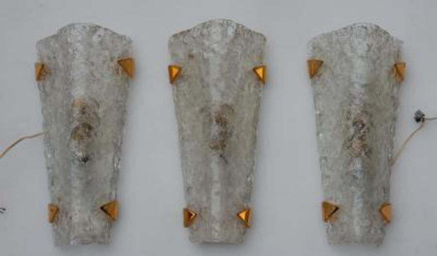 1960/70 3 Sconces glass and brass