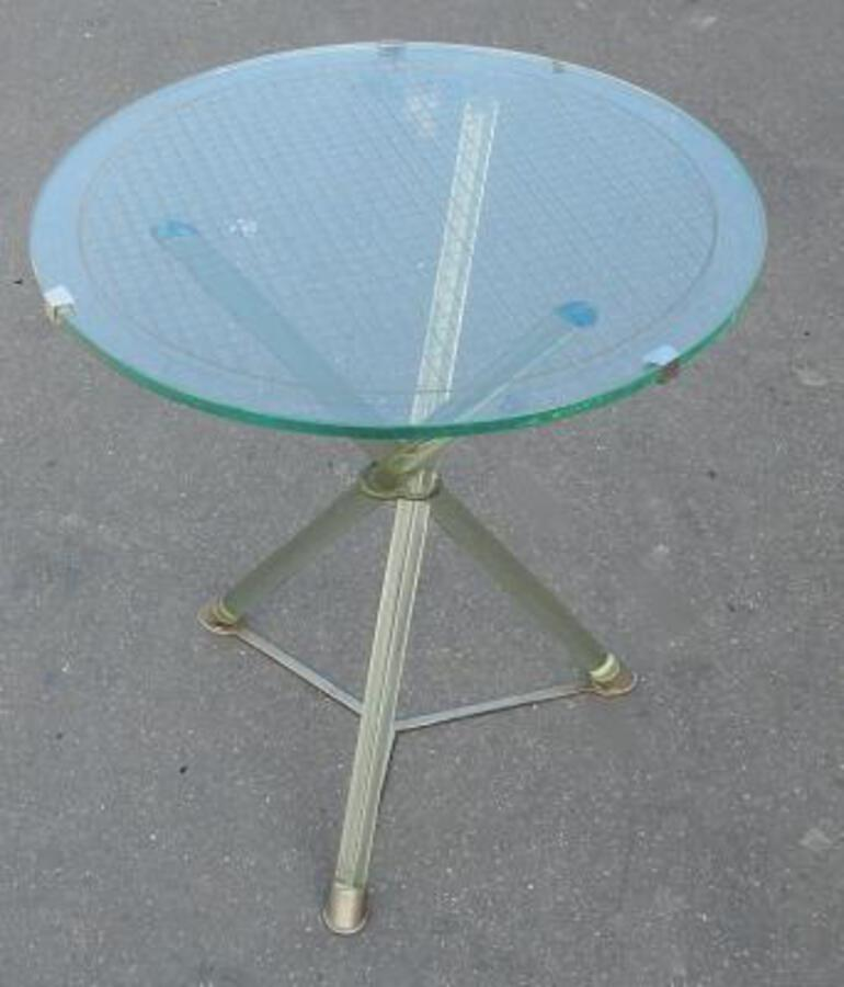 1930 ' Pedestal Table Art Deco Glass Modernists Attributed to Maison Jansen and Nickel-Plated Brass
