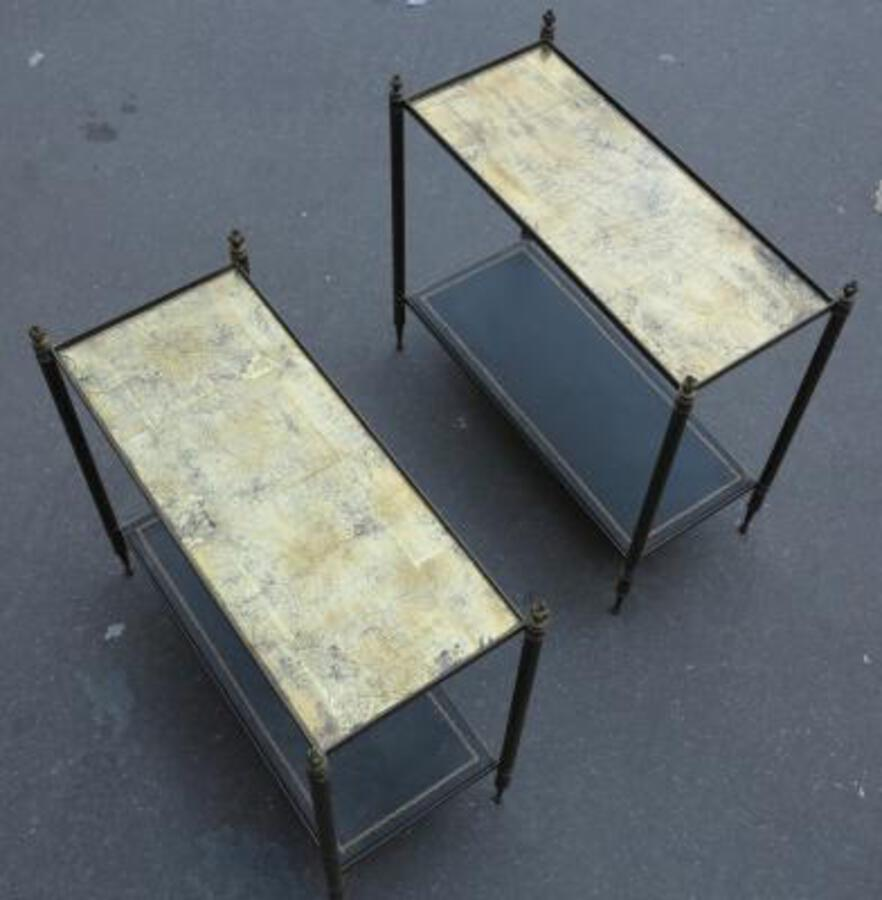 1950/70 Pair of Rectangular Ends of Sofa Maison Bagués Brass and  Trays with Gold Under Glasses with Olympic flames