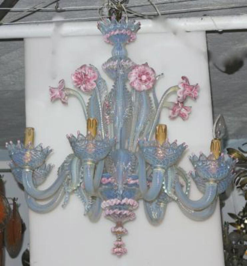 1950' Murano chandelier has 8 blue glass lights opalescent and pink molten glass