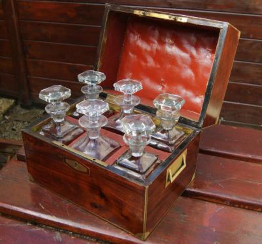 Antique Capitain victorian mahogany six bottle tantalus c1860