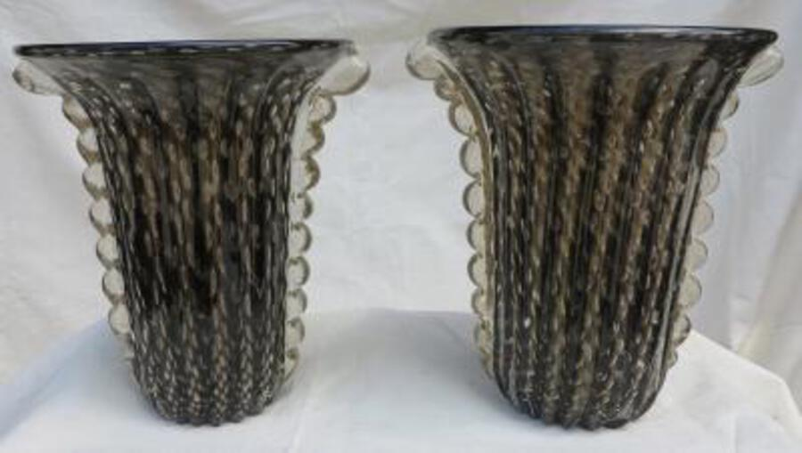 1970' Cristal Murano pair or similar vases black and gold sign Toso