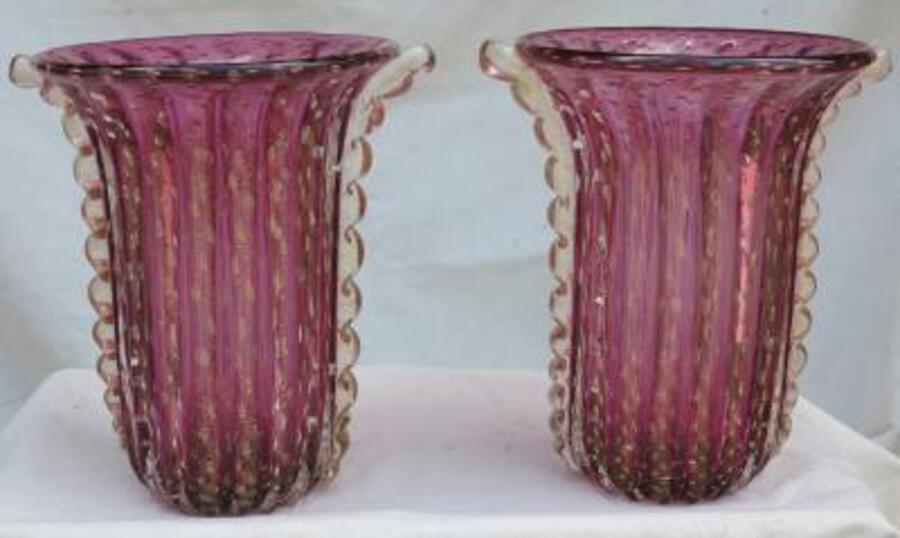 1970' Cristal Murano pair or similar vases purple and gold sign Toso