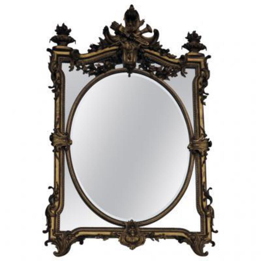 1880' Mirror parecloses gilded with fire urns