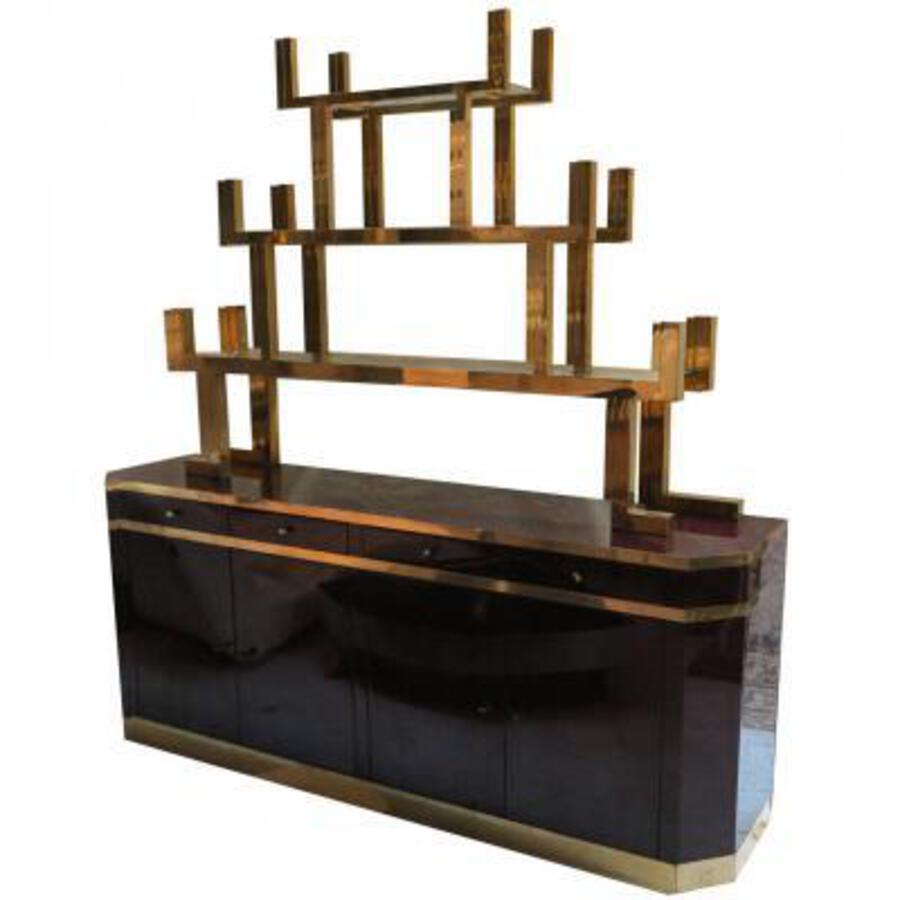 Sideboard  lacquered dark purple style Aldo Tura signed  Roméo with étagére in gilded brass style japan