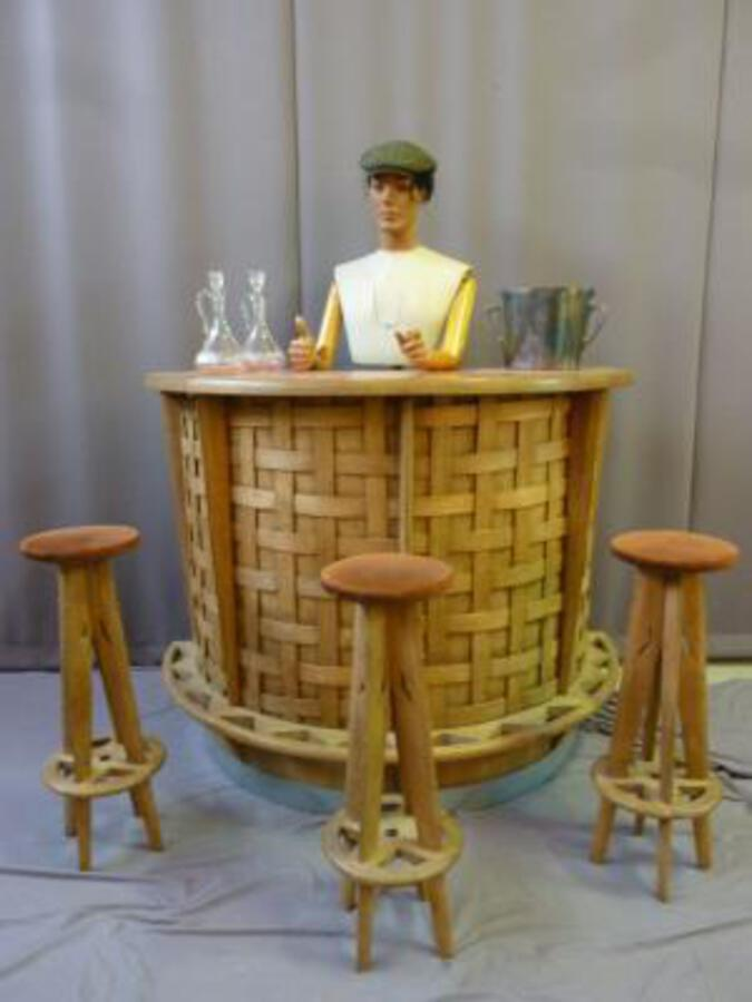BAR WITH THREE MATCHING STOOLS