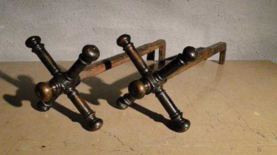 Antique PAIR OF FIRE DOGS