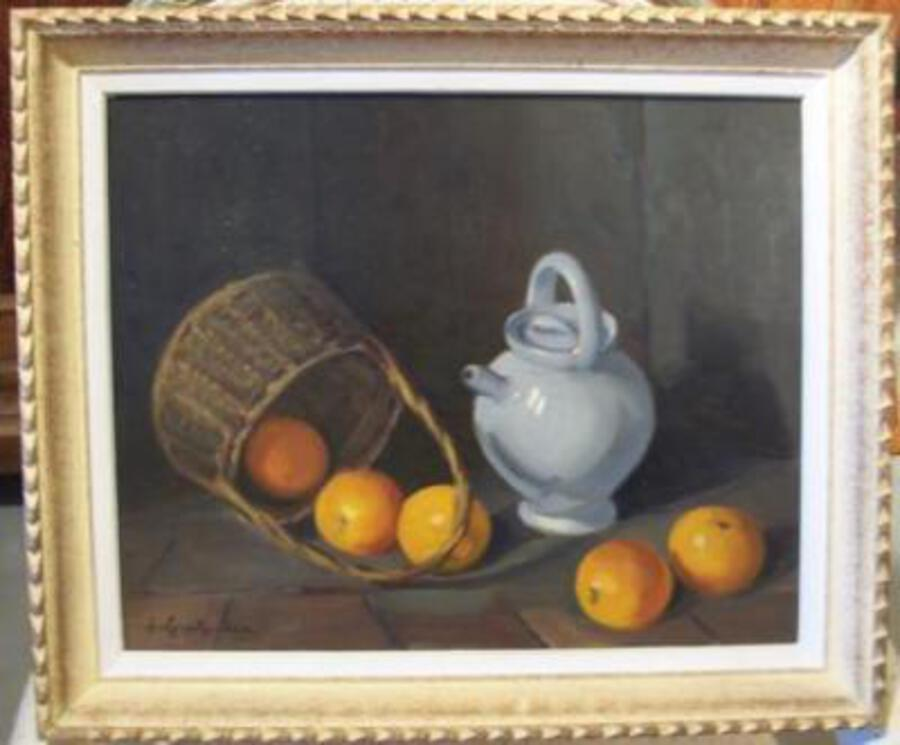 """Pot of water, oranges and basket"" Jeanne guyot guillain. 20 th C"