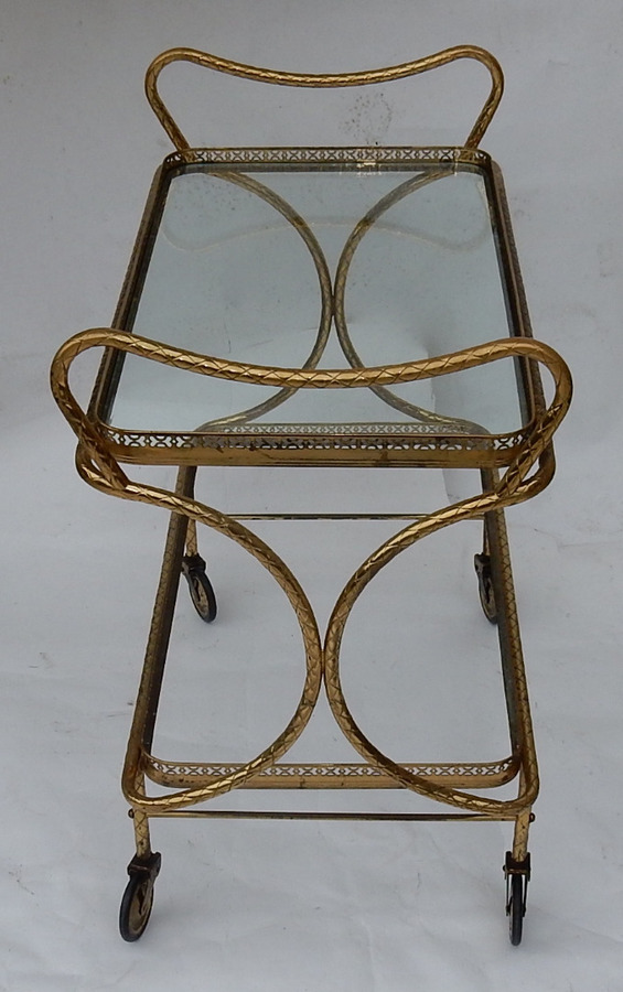 1970 'Rolling Bar in Bronze and Gilt Brass Maison Baguès Decor Art Nouveau