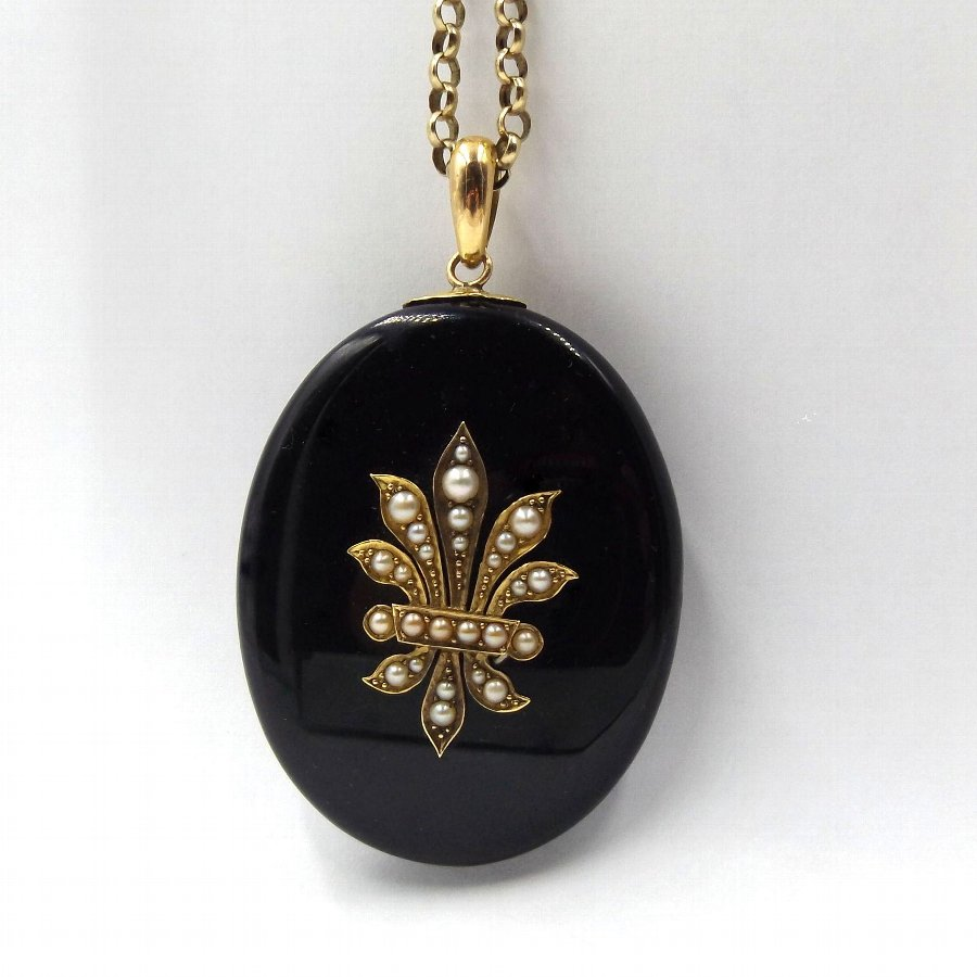 Large Antique 15ct Gold Onyx & Pearl Locket Pendant
