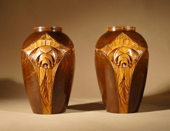 Antique A Rare And Very Stylish French Art Deco Carved Wooden Pair Of Vases.