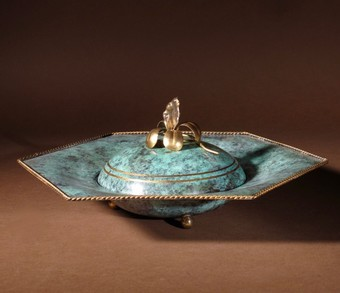Antique An Elegant Art Deco Patinated and Gilded Brass Bonbonniere Circa 1920-1940