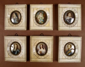 Antique A Set Of Six Portrait Miniatures In Bone/Ivory Frames. French/ Italian Circa 1900.