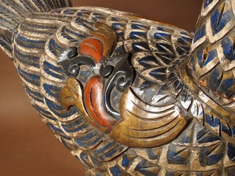 Antique A Very Decorative And Very Large Finely Painted Oriental Carved Wooden Sculpture Of A Bird. Circa 1940.