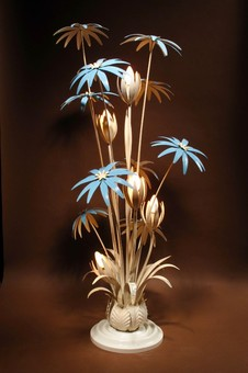 Antique A spectacular metal tole floor lamp with flowers by Hans Kögl Germany.