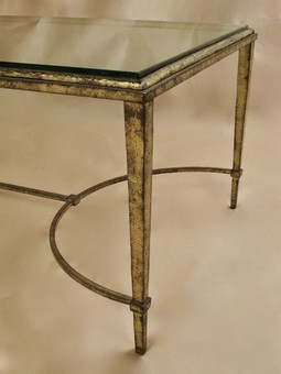 Antique Gilded Wrought Iron Maison Ramsay French Coffee Table