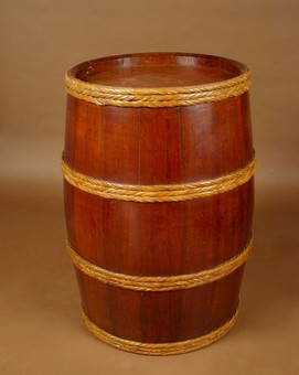 Antique A Very Nice And large Coopered Campaign/Ships Teak Barrel With Woven Cane Bindings.