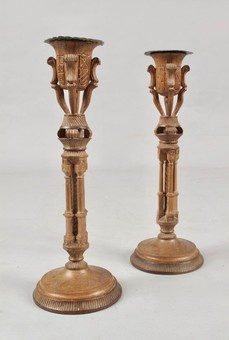 Antique Stylish Art Deco Walnut Pair of Candle sticks