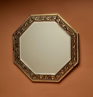 Antique A Clean Embossed Brass Mirror, circa 1900