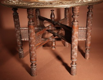 Antique  A Very Decorative Anglo Indian Middle Eastern Possible Mughal Empire Folding Coffee Table. Circa 1900-20